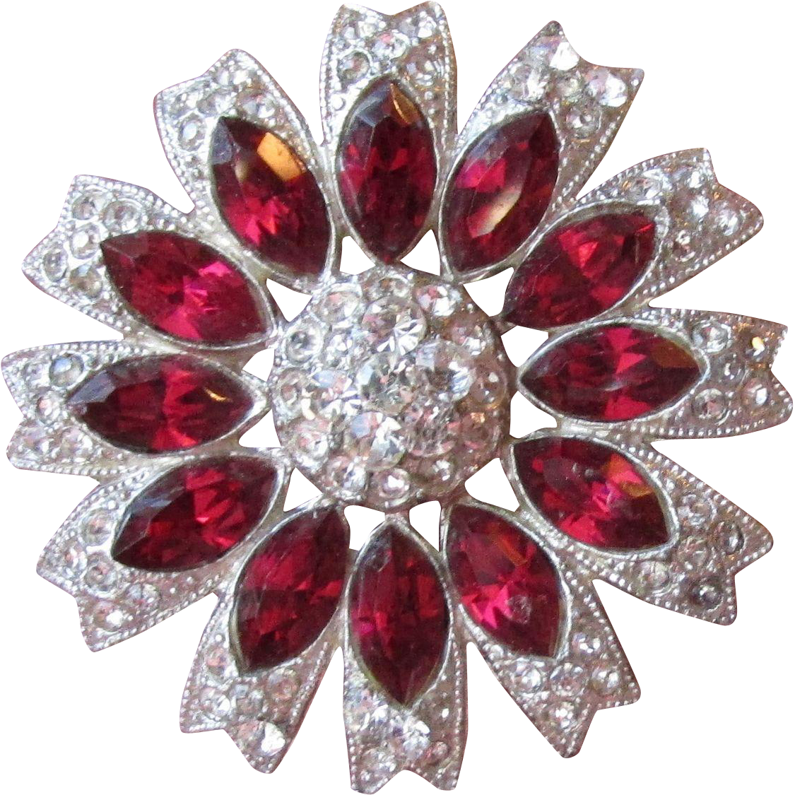 Gorgeous Vintage 1930's Art Deco Ruby Red Rhinestone Flower Pin