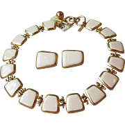 1980's Anne Klein Ivory Enamel Textured Gold Tone Square Links Vintage Necklace & Earrings Set