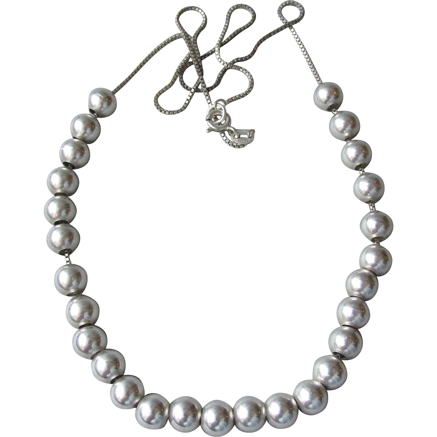 "Vintage 20"" Floating Sterling Silver Bead Necklace"