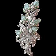 Exceptional 1940's Mazer Fruit Salad Molded Glass, Enamel & Rhinestone Floral Brooch