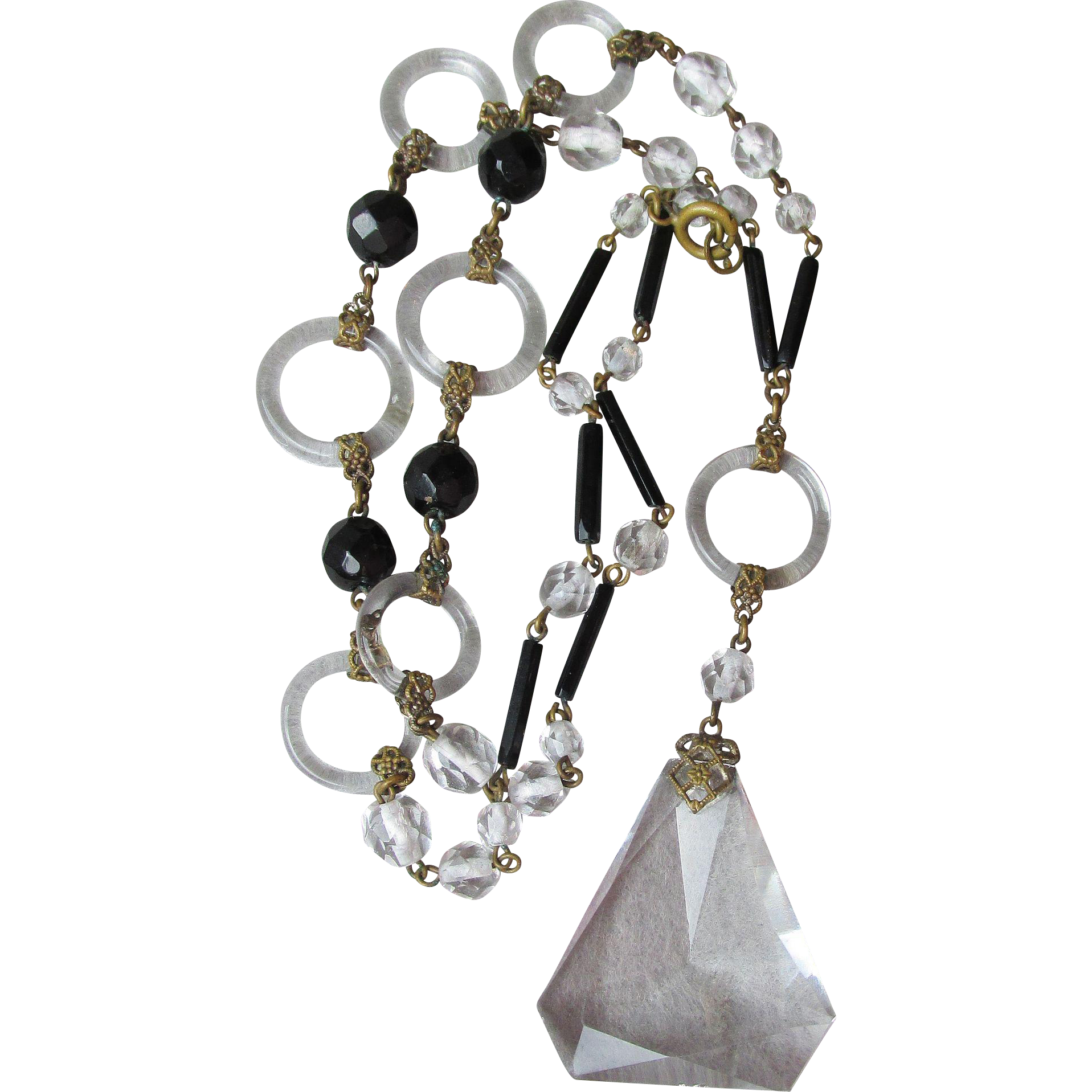 Outstanding 1920's Art Deco Austrian Crystal Pendant with Glass Ring & Black Beads Flapper Necklace