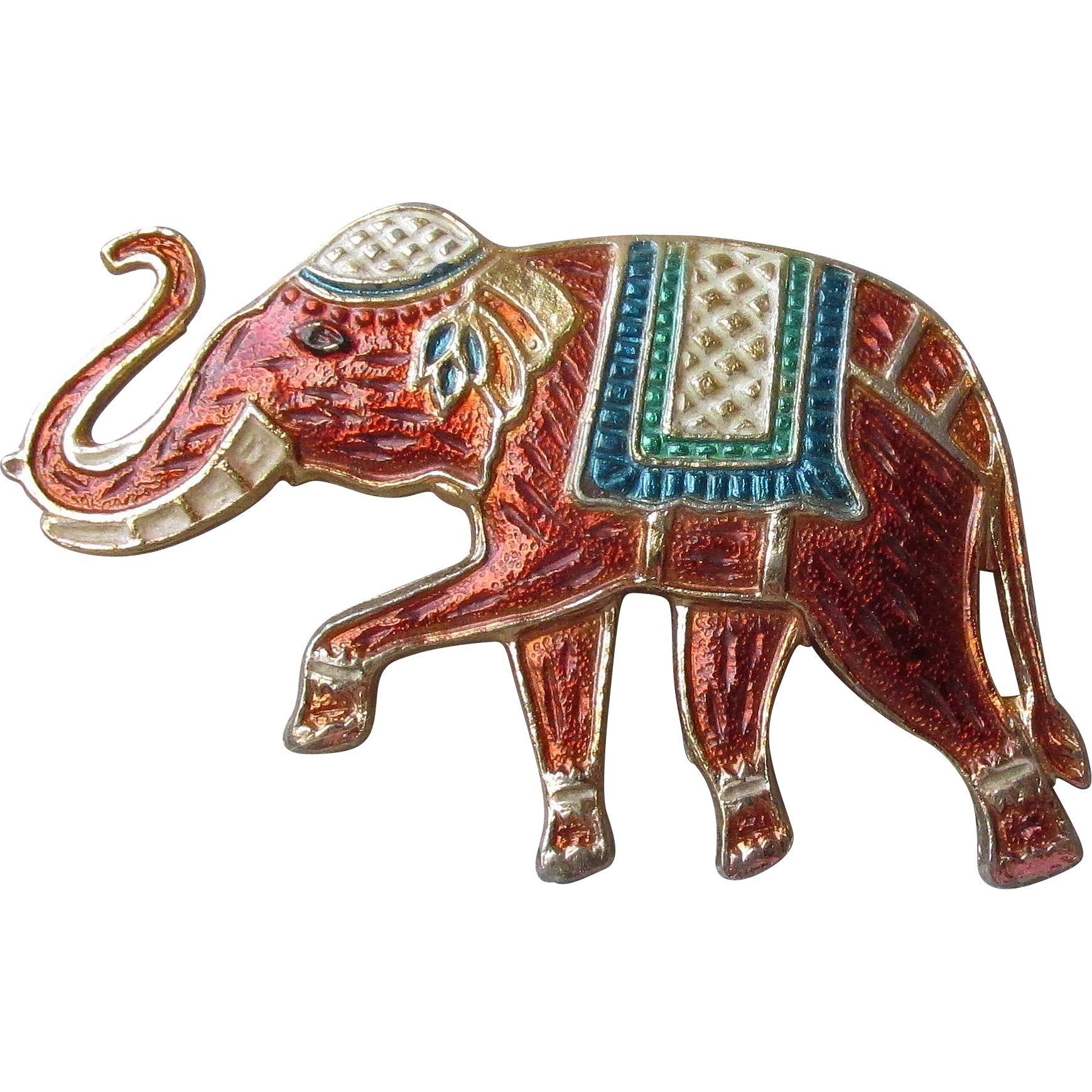 Vintage Signed WARNER Enamel Elephant Pin