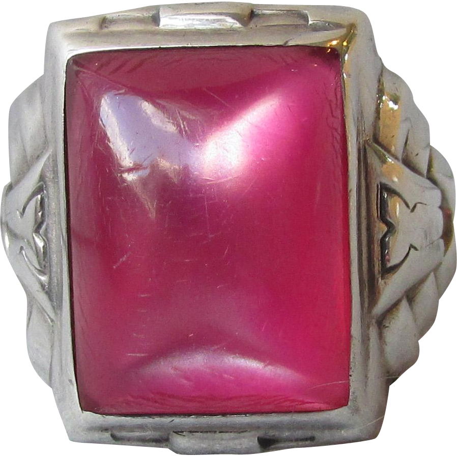 Vintage Art Deco Unisex UNCAS Sterling Silver Pink Glass Cat's Eye Ring, Size 9