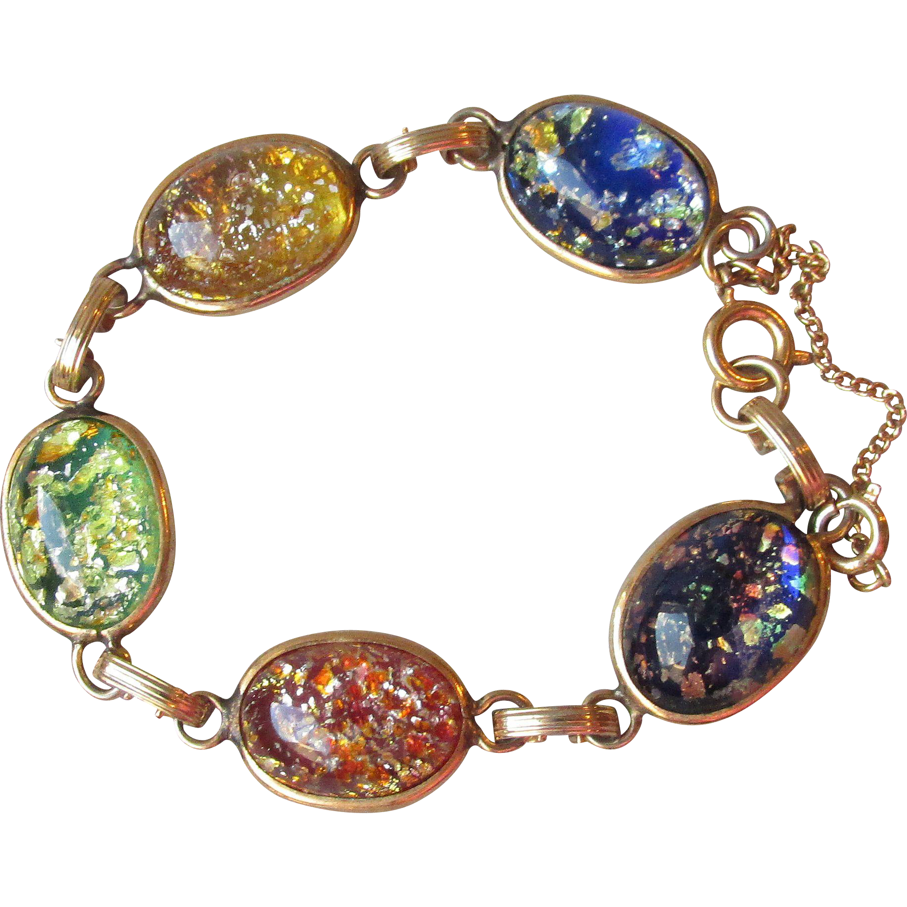 1960's Vintage Multi Color Dragons Egg Foil Glass Cabochon Link Bracelet