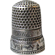 "Antique Sterling Silver Thimble with Houses,Fences, Stars, Engraved ""Kittie"""