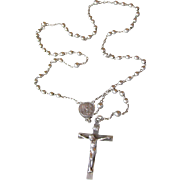 1950's Vintage Petite Sterling Silver Child's Rosary by Catamore