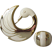 Vintage Ivory Enamel Gold Tone SWAN Brooch with Ring Set