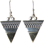 Vintage Bali Sterling Silver & Vermeil Dangle Triangle Pierced Earrings