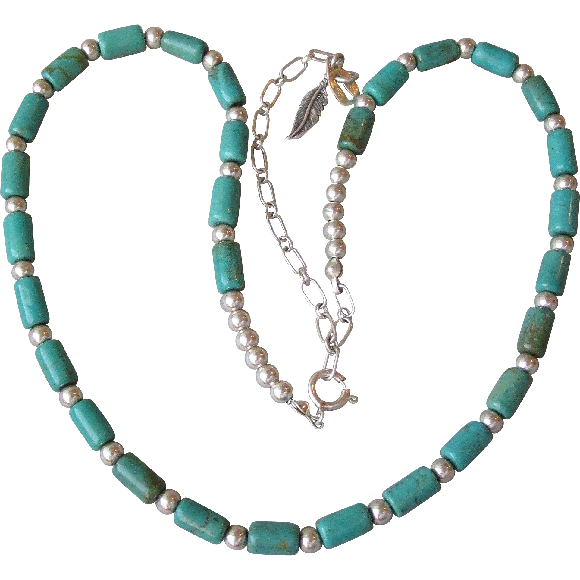 Carolyn Pollack Turquoise Barrel Bead & Sterling Silver Vintage Necklace