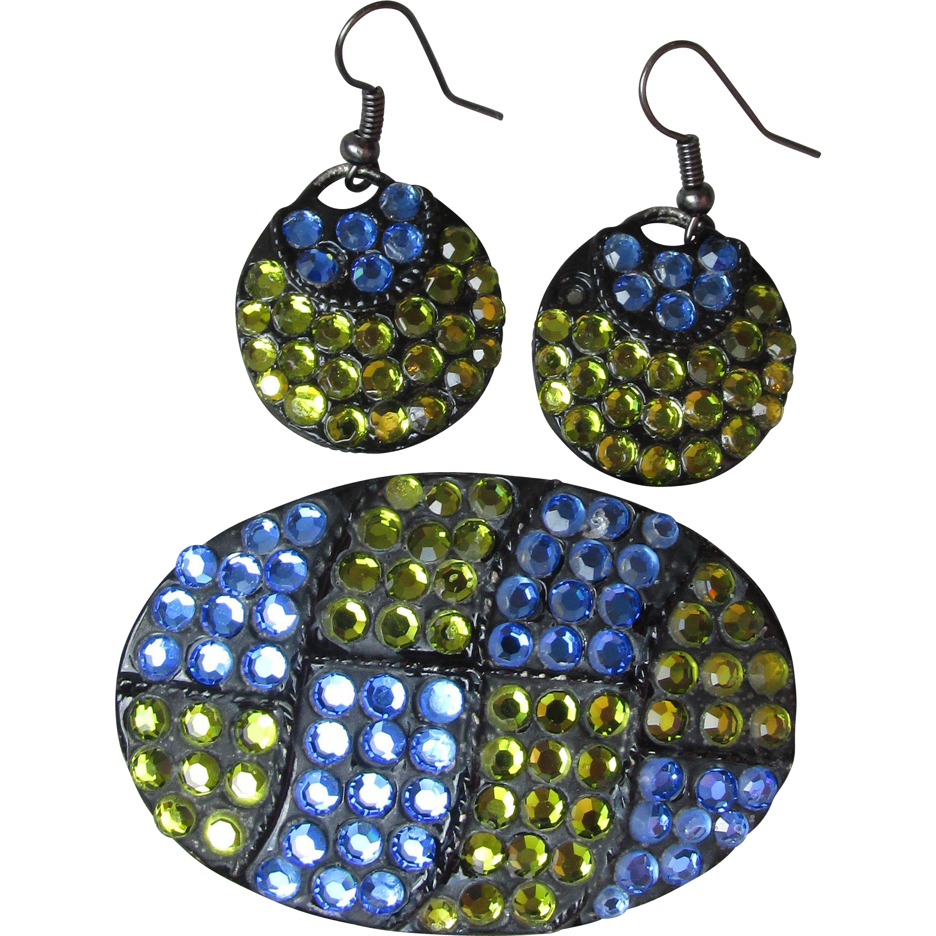 1960's Vintage Japanned Black Enamel with Blue & Lime Green Rhinestones Pin & Earrings Set