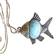 Danecraft Sterling Silver & Turquoise Venetian Glass Belly Vintage Angel Fish Pendant Necklace