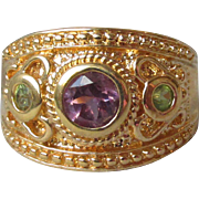 Vintage Bali Style Gold on Sterling Silver Amethyst & Peridot Wide Band Ring, Size 8
