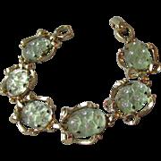 Gorgeous Imitation Jade Frosted Molded Glass & Rhinestone 1960's Vintage Bracelet