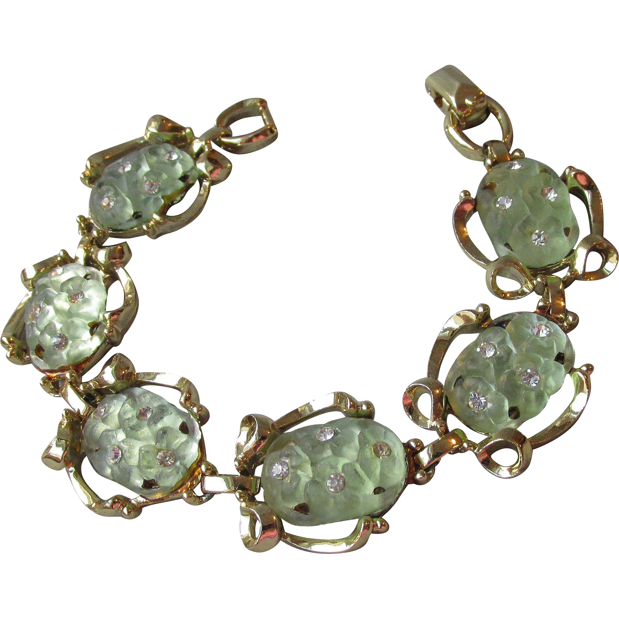 Gorgeous Imitation Jade Frosted Molded Glass & Rhinestone 1960's Vintage Bracelet