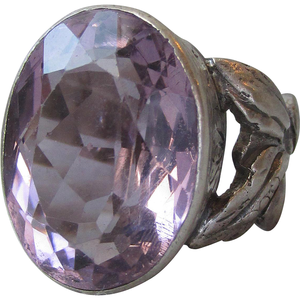 Massive Vintage 34 Carat Oval Amethyst Hand Crafted Tribal Sterling Silver Ring, Size 8