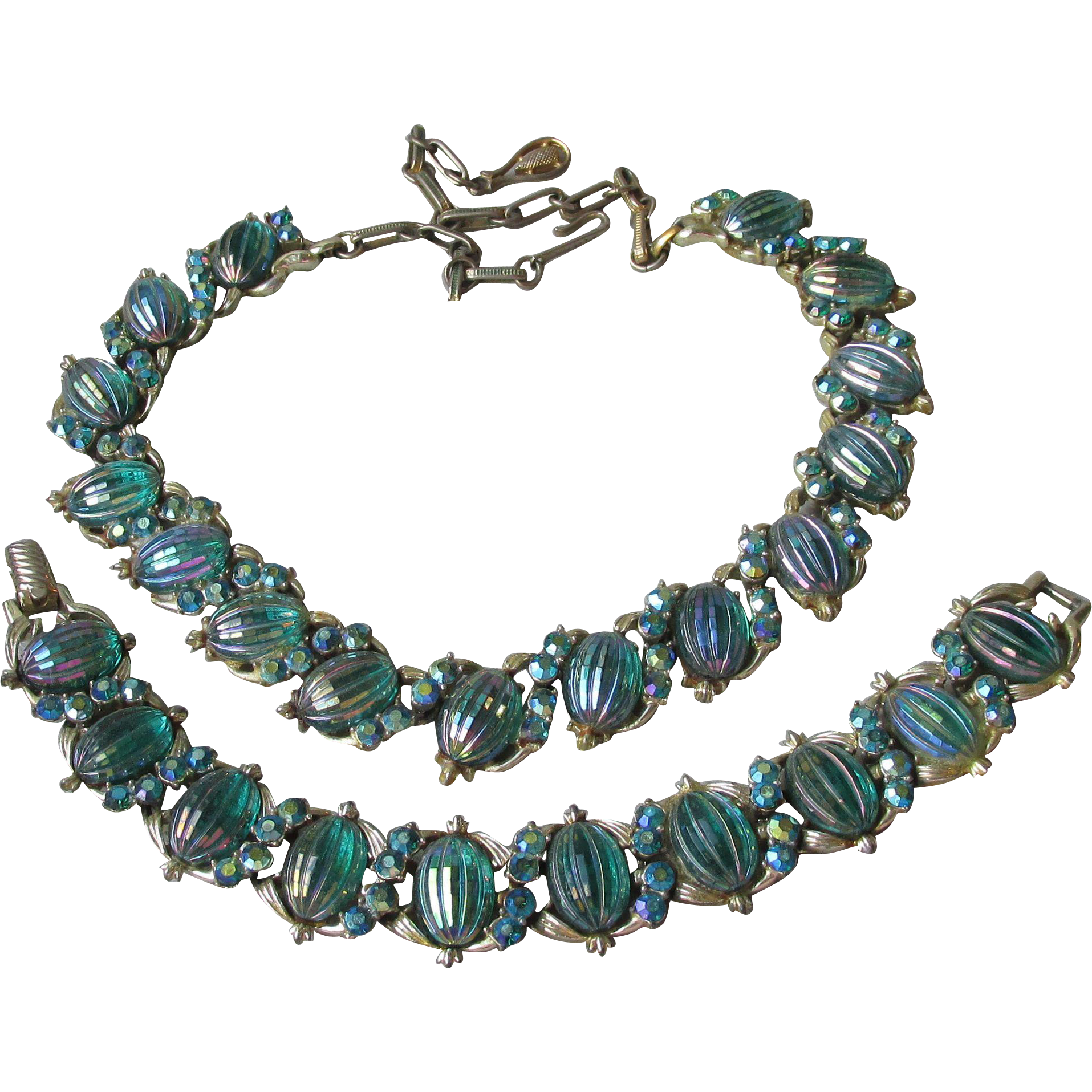 Vintage Coro Iridescent Blue Green Rhinestone & Melon Molded Glass Necklace, Bracelet Set