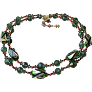 Amazing Vendome Double Strand Emerald Green Crystal & BIG Modernist Op Art Foil Bead Necklace