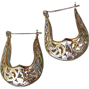 Sterling Silver & Gold Plate Filigree U Shaped Vintage Hoop Earrings