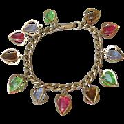 Vintage 1960's Dangling Lucite Multi-Color Crystals in Heart Cages Charm Bracelet