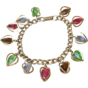 Vintage 1960's Dangling Lucite Multi-Color Crystals in Heart Cages Charm Bracelet