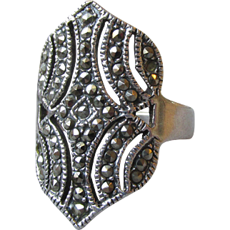 "BIG 1"" Long Sterling Silver Marcasite Vintage Ring, Size 8"