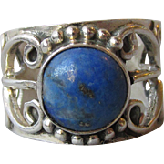 Vintage Bali Sterling Silver & Lapis Lazuli Hand Made Open Work Band Ring, Size 6.5