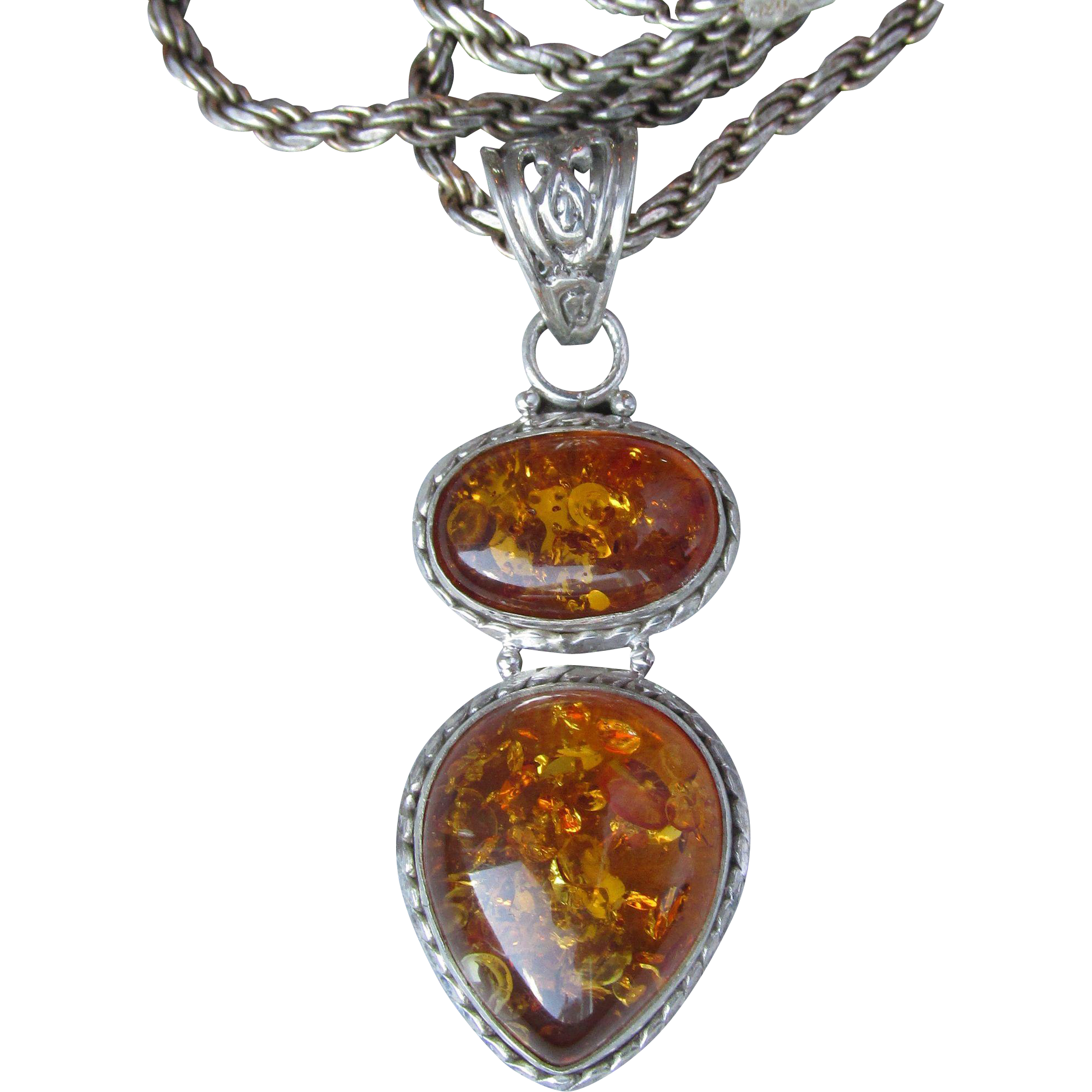 Sterling Silver Double Tear Drop Honey Amber Vintage Necklace