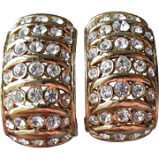 Signed CINER Wide Rhinestone Semi Hoop Vintage Earrings