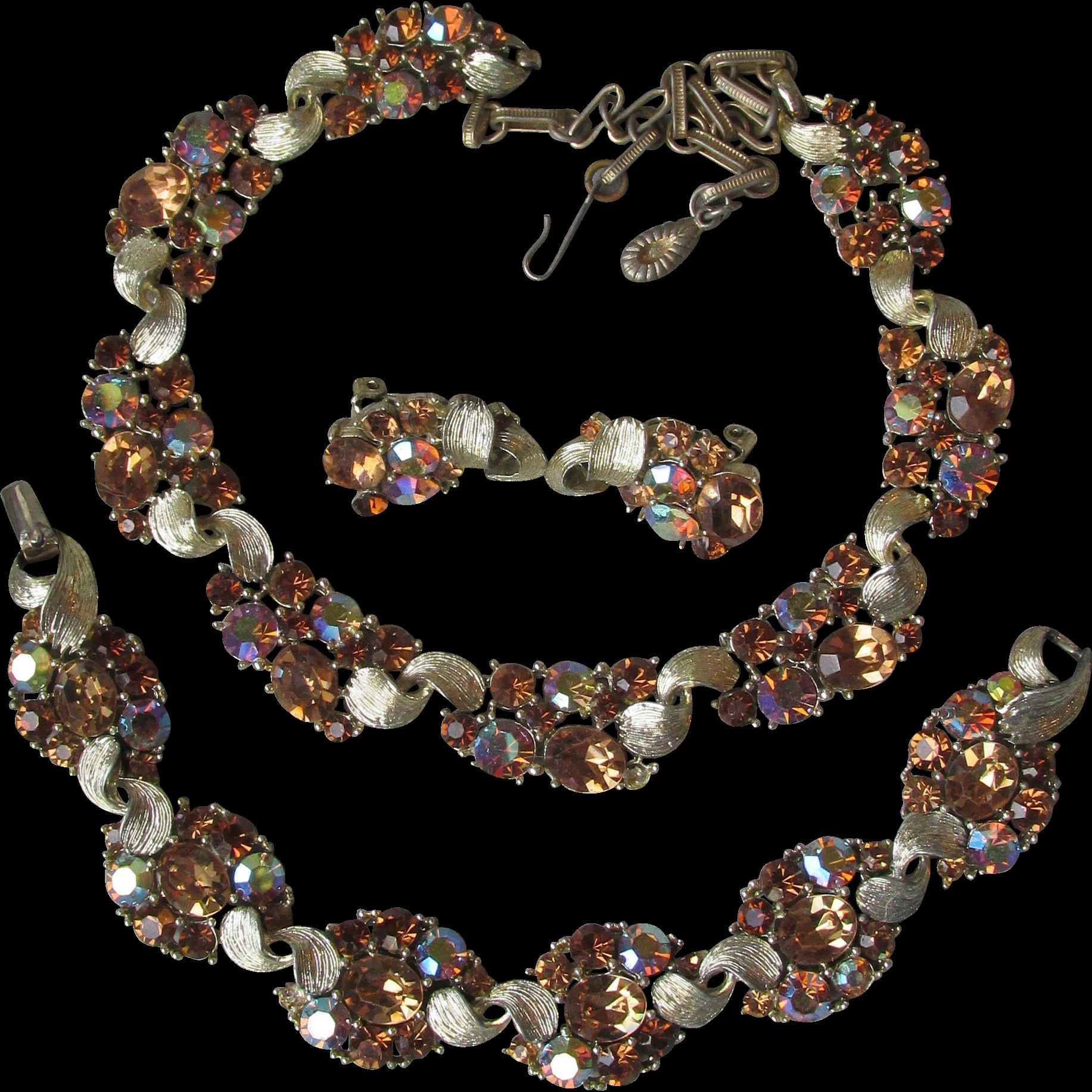 Sparkling Signed LISNER AB Root Beer Rhinestone Vintage Parure, Necklace, Bracelet, Earrings