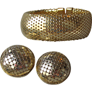 1960's Gold Tone Wide Mesh Cuff Bracelet & Big Button Earrings Set, Vintage Demi Parure