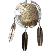 Native American Navajo Signed Virgil Reedee Hand-Made Sterling Silver & Gold Filled EAGLE Pin Pendant