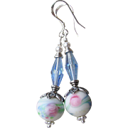 """My Secret Garden"" Lampwork Art Glass & Swarovski Crystal Sterling Silver Artisan Earrings, ""Watercolor Blush"" #86"