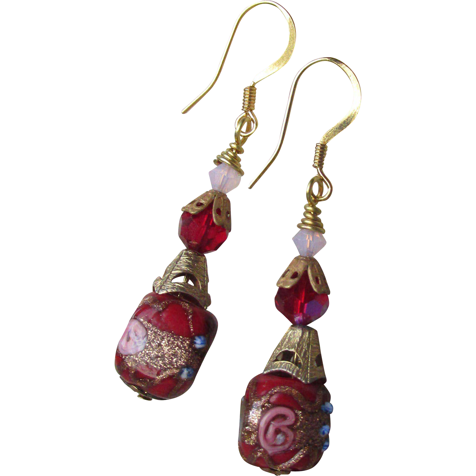 """My Secret Garden"" Lampwork Art Glass & Swarovski Crystal Sterling Silver Artisan Earrings, ""Red Venetian Wedding Cake"" #95"