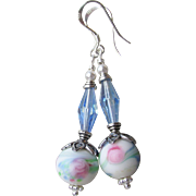 """My Secret Garden"" Lampwork Art Glass & Swarovski Crystal Sterling Silver Artisan Earrings, ""Watercolor Blush"" #96"