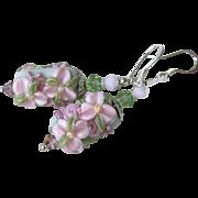 """My Secret Garden"" Lampwork Art Glass & Swarovski Crystal Sterling Silver Artisan Earrings, ""Powder Pink Sage Blossom"" #97"