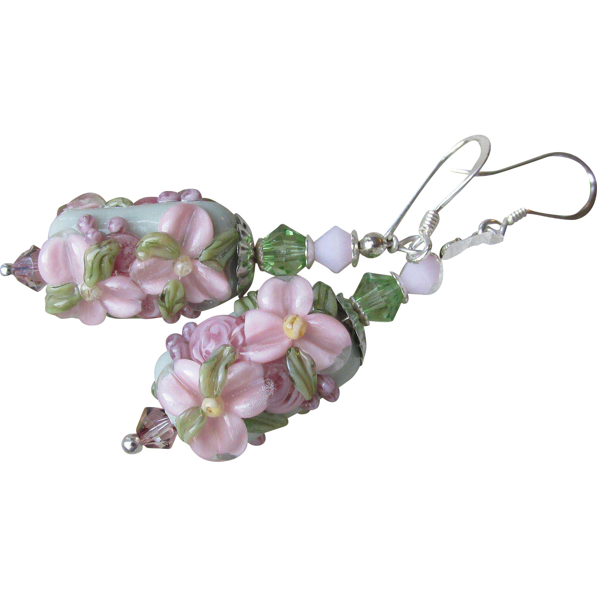 """My Secret Garden"" Lampwork Art Glass & Swarovski Crystal Sterling Silver Artisan Earrings, ""Powder Pink Sage Blossom"" #97"