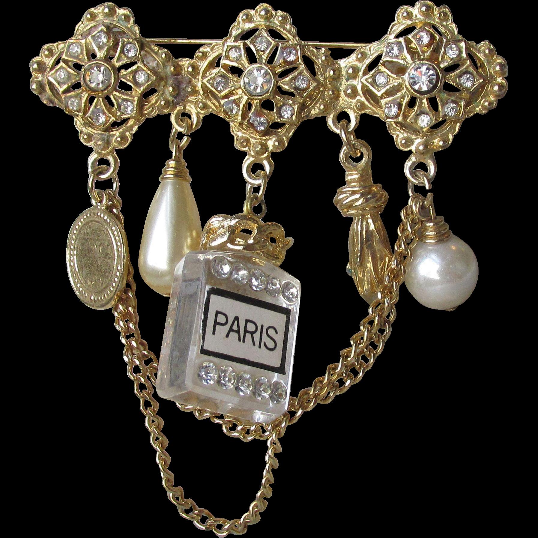 BIG Vintage 1960's PARIS Perfume Bottle, Faux Pearl, Coin & Chain Dangle Brooch