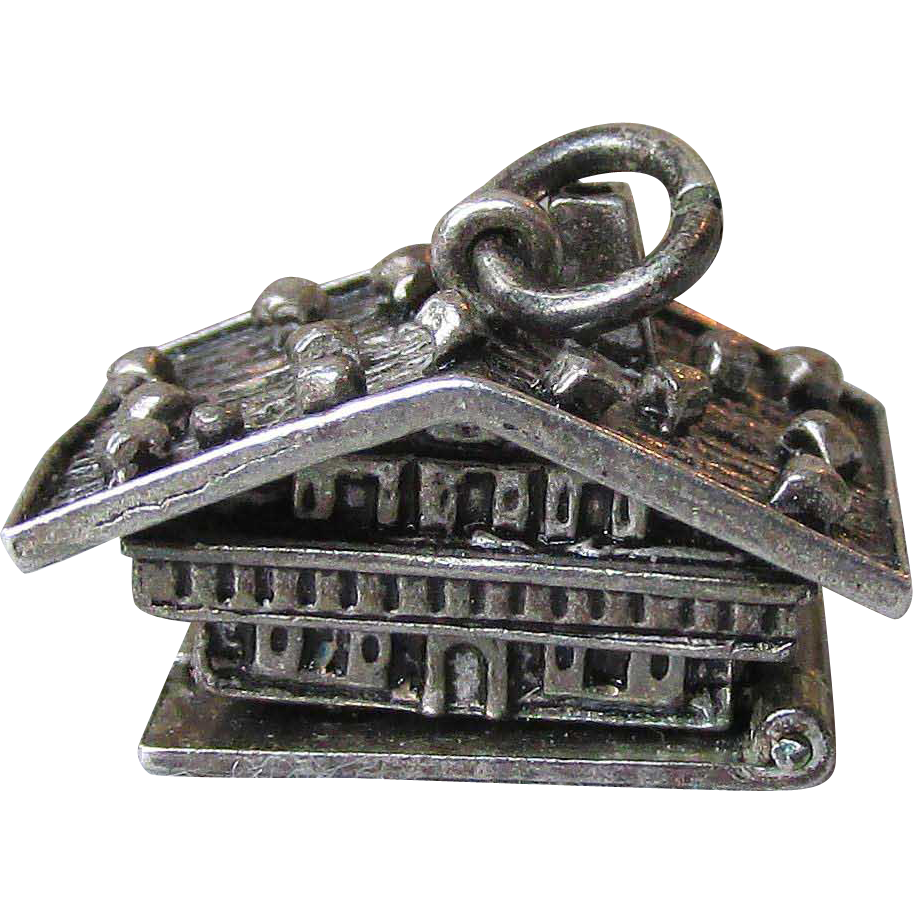 Vintage 800 Silver Swiss Chalet Mechanical Charm, Opens to Bedroom