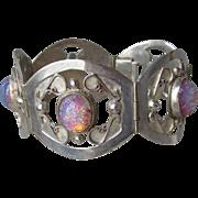 Exquisite! Mexico Open Work Sterling Silver Foil Glass Faux Fire Opal Vintage Bracelet