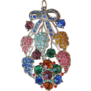 Gorgeous! 1930's Pot Metal Multi Color Rhinestone Vintage Flower Corsage Pendant