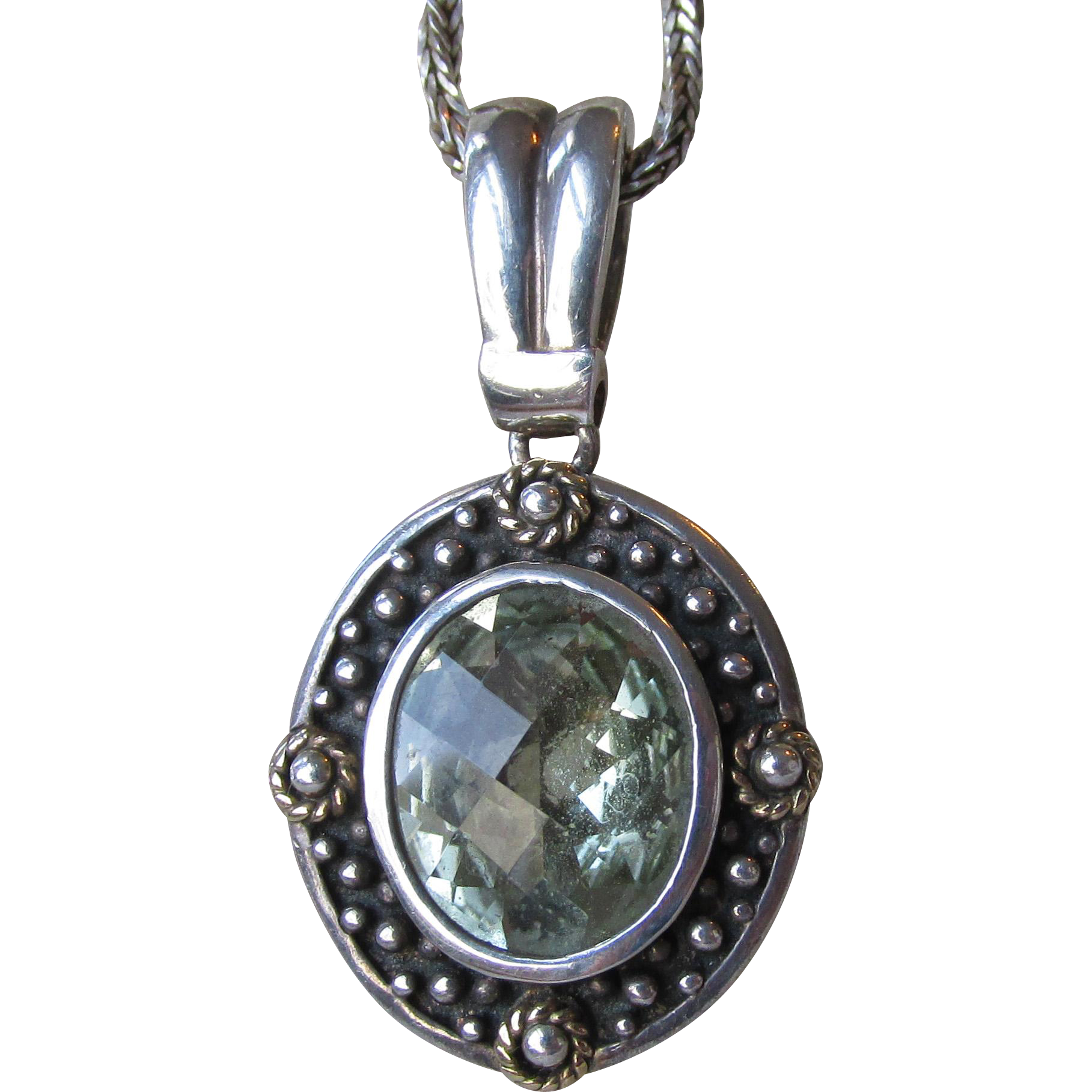 Beauty! Green Amethyst Prasiolite Sterling Silver with 14k Gold Vintage Pendant Necklace