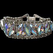 WEISS Blue AB Marquise Rhinestone Vintage Bracelet