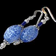 """""""My Secret Garden"""" Lampwork Venetian Art Glass Artisan Earrings, """"Frozen Pond"""" #98"""