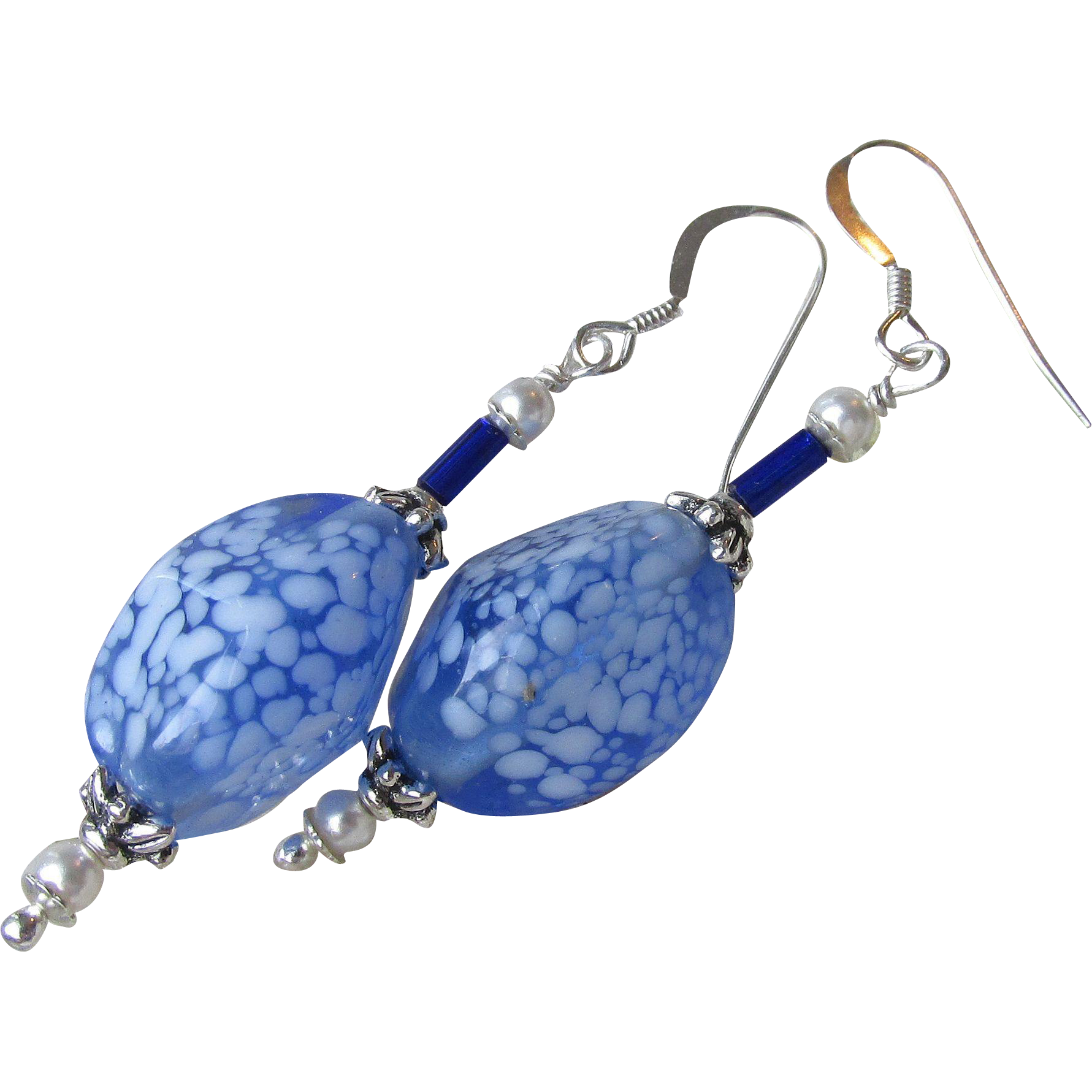 """My Secret Garden"" Lampwork Venetian Art Glass Artisan Earrings, ""Frozen Pond"" #98"