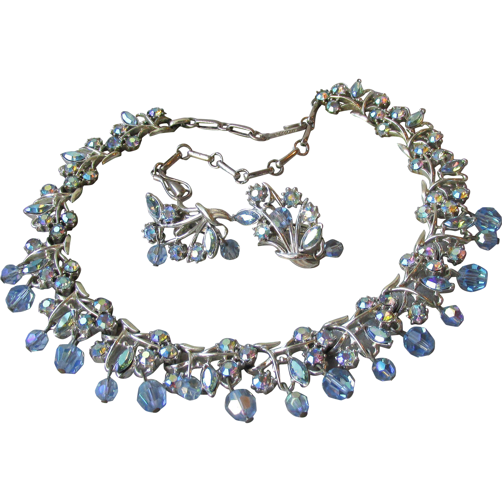 RARE Beauty CORO Dangling Blue AB Crystal & Rhinestone Necklace & Earrings Set, Vintage Demi Parure