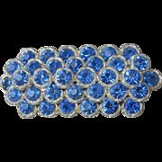 Vintage Edwarian Blue Rhinestone Pot Metal Wide Bar Pin