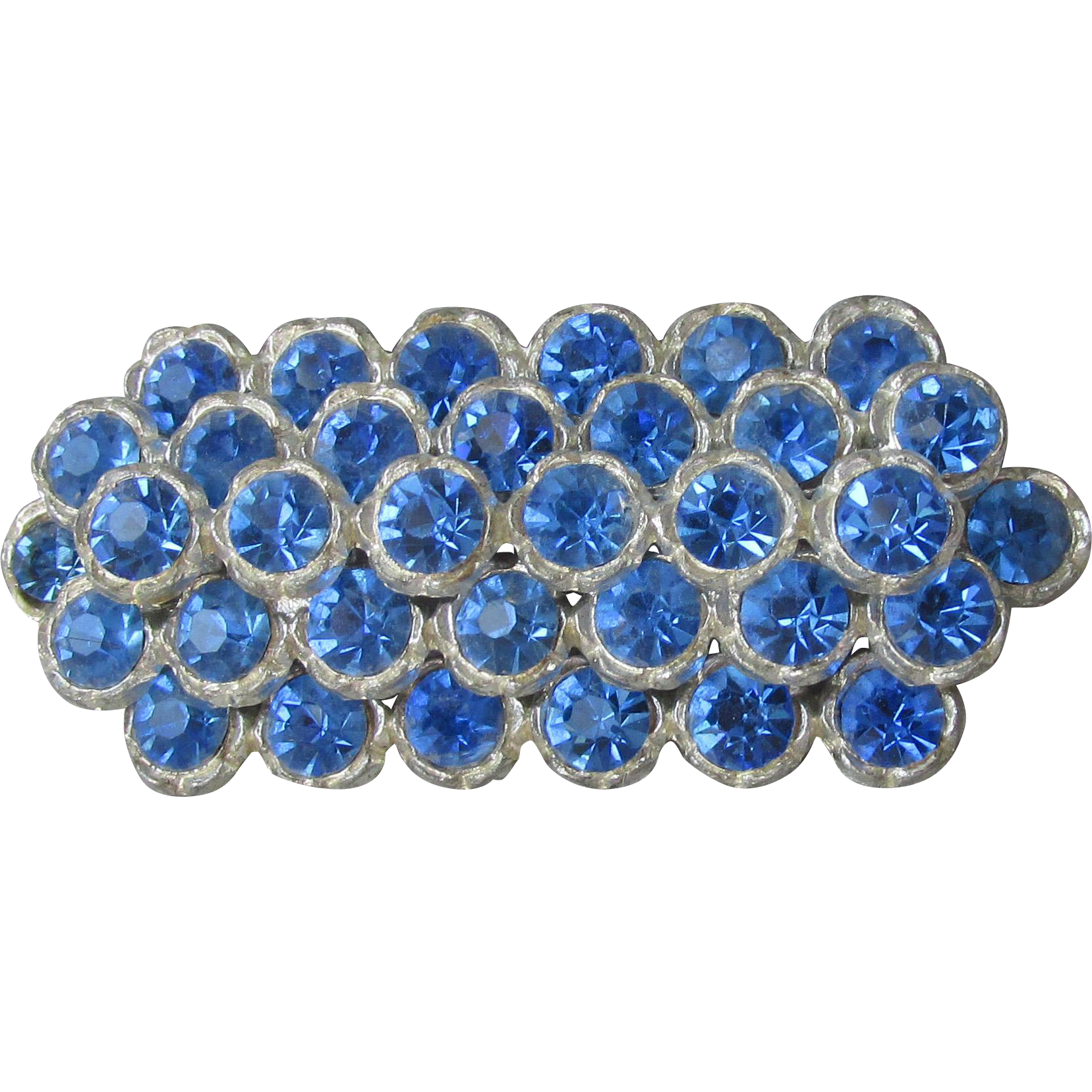 Vintage Edwarian Blue Rhinestone Pot Metal Wide Bar Pin