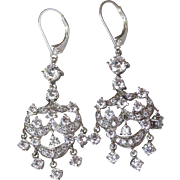 Elegant Sterling Silver Cubic Zirconia Vintage Chandelier Party Earrings