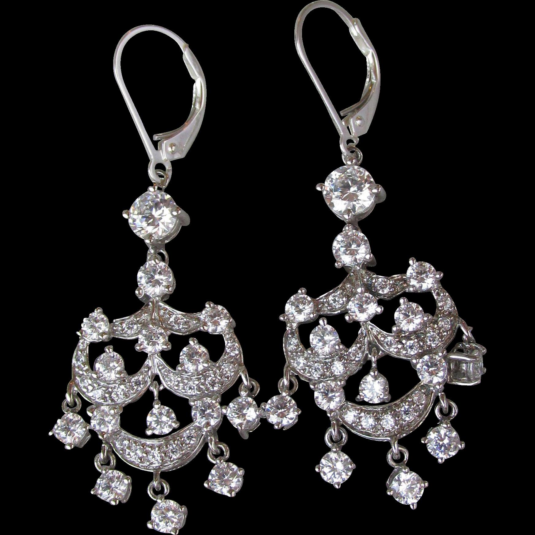 Elegant Sterling Silver Cubic Zirconia Vintage Chandelier Party Earrings