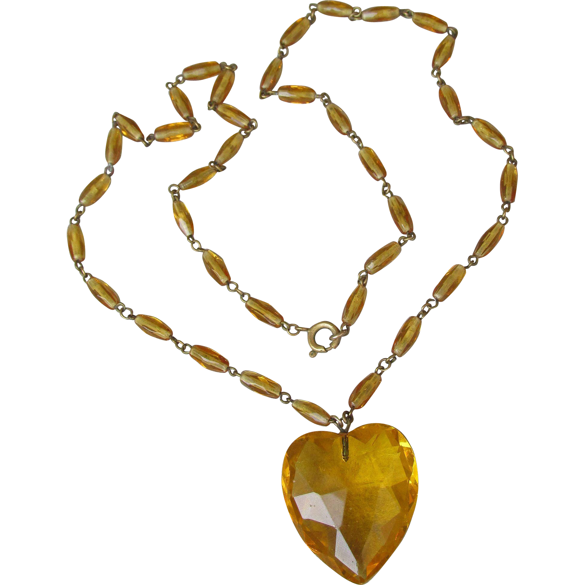 1920's Vintage Amber Glass Bead Flapper Necklace, Crystal Heart Pendant